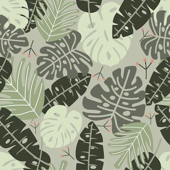 Naadloos patroon met groene tropische bladeren