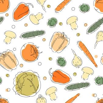 Naadloos patroon met groenten. circuit. achtergrond. menu-decoratie.