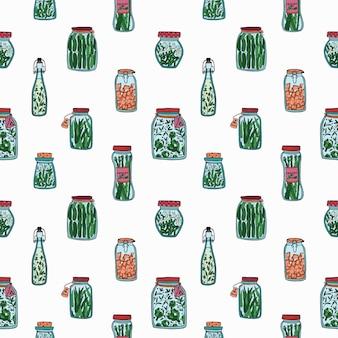 Naadloos patroon met groenten in het zuur.
