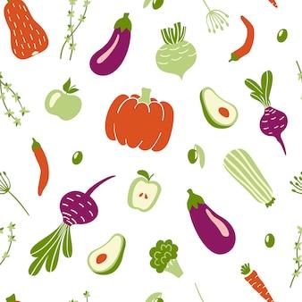 Naadloos patroon met groenten.