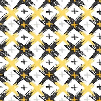 Naadloos patroon met grunge gele en zwarte dwarstexturen. mode hipster achtergrond