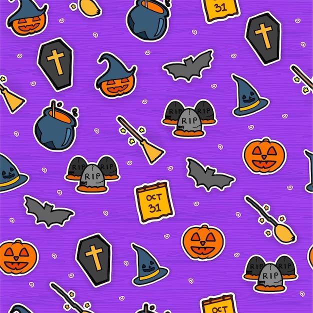 Naadloos patroon met halloween-achtergrond. kleurrijke sjabloon, hand getrokken.