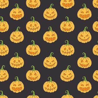 Naadloos patroon met halloween gekleurde pictogrammen op zwart