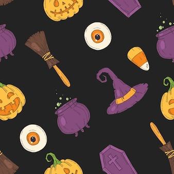 Naadloos patroon met halloween gekleurde pictogrammen