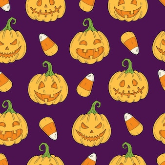 Naadloos patroon met halloween gekleurde pumpkin jack