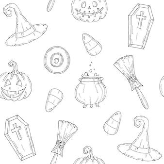 Naadloos patroon met halloween-pictogrammen. pumpkin jack, heksenhoed, bezem, hoed, snoep, snoepwortels, kist, pot met drankje in schetsstijl.