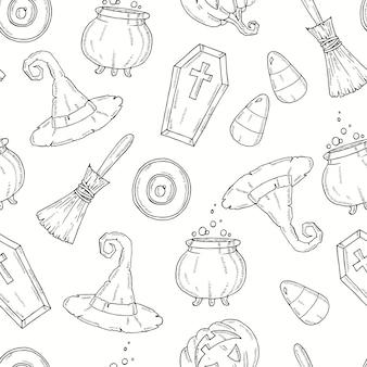 Naadloos patroon met halloween-pictogrammen