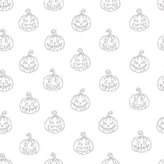 Naadloos patroon met halloween-pompoenhefboom in schetsstijl die op wit wordt geïsoleerd.