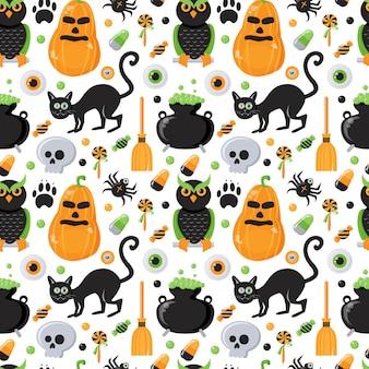 Naadloos patroon met halloween-thema
