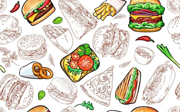 Naadloos patroon met hamburgers en fastfood