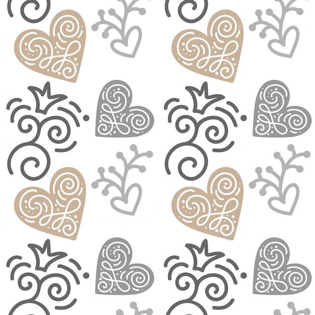 Naadloos patroon met hand geschilderde harten. illustratie valentijnsdag