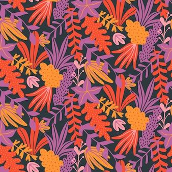 Naadloos patroon met hand getrokken bladeren en kruiden.