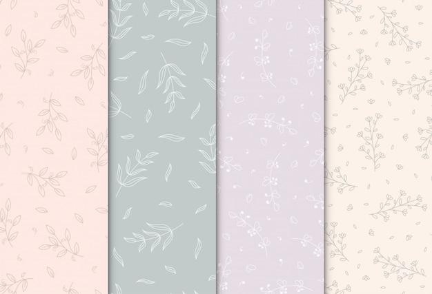 Naadloos patroon met hand getrokken bloemen, illustratie