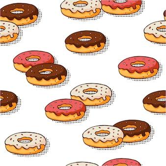 Naadloos patroon met hand getrokken donuts op witte achtergrond