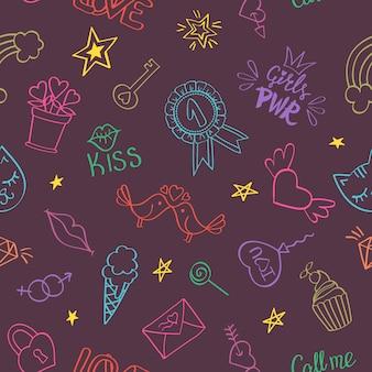 Naadloos patroon met hand getrokken girly krabbels. herhalende achtergrond met kinderachtig schetsontwerpelementen.