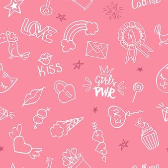 Naadloos patroon met hand getrokken girly krabbels. herhalende achtergrond met kinderachtige schetsontwerpelementen