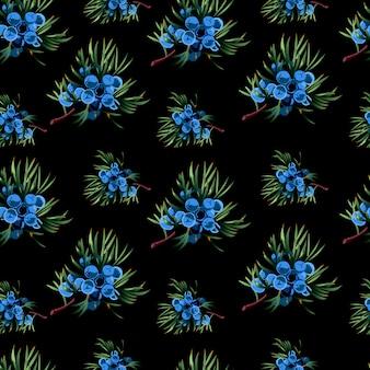 Naadloos patroon met hand getrokken jeneverbesbrunches