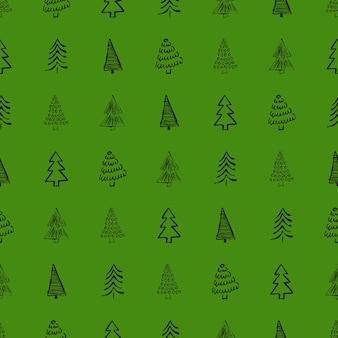 Naadloos patroon met hand getrokken kerstbomen. getekende sparren. wintervakantie doodle elementen. vector illustratie