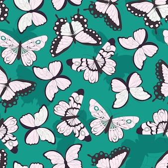 Naadloos patroon met hand getrokken kleurrijke vlinders, groene achtergrond