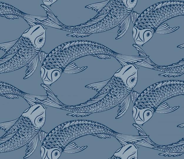 Naadloos patroon met hand getrokken koi-vissen
