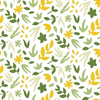 Naadloos patroon met hand getrokken planten.