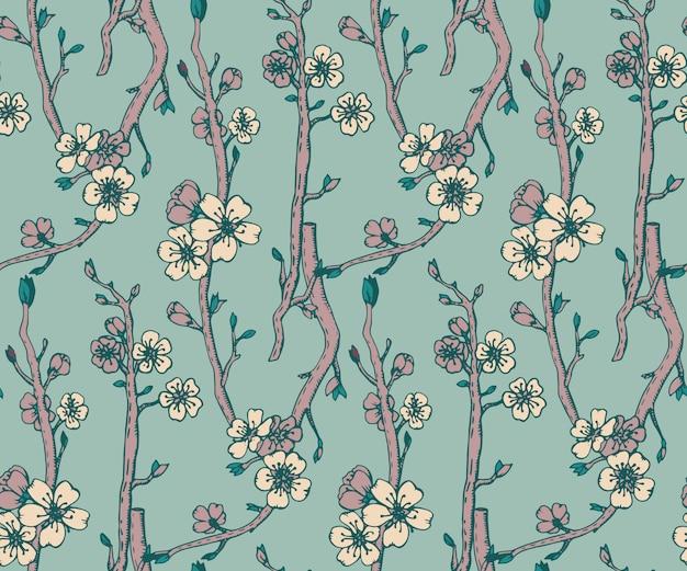 Naadloos patroon met hand getrokken takken van het tot bloei komen