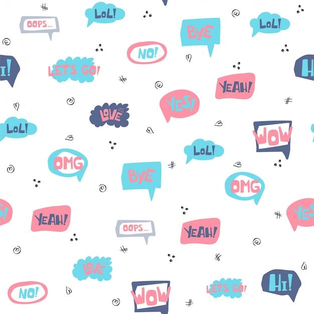 Naadloos patroon met hand getrokken tekstballonnen