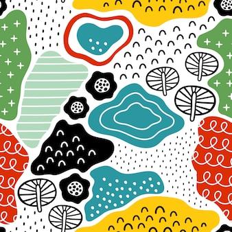 Naadloos patroon met hand getrokken texturen