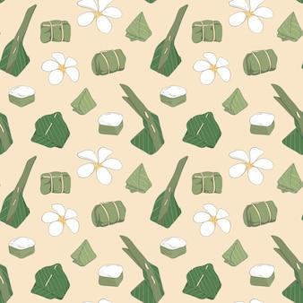 Naadloos patroon met hand getrokken thais dessert, vectorillustratie