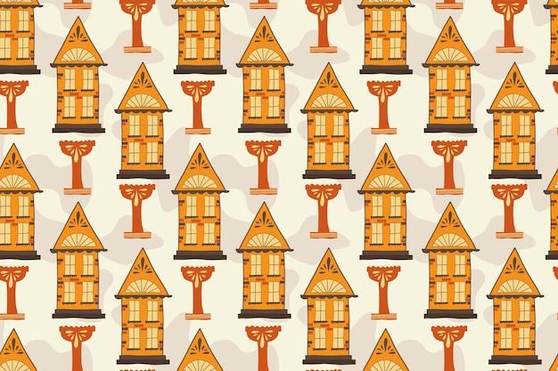 Naadloos patroon met handgemaakte huizen handdraw een huis met ramen en daken een kom