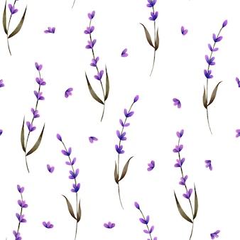 Naadloos patroon met handgeschilderde lavendel en bloemblaadjes