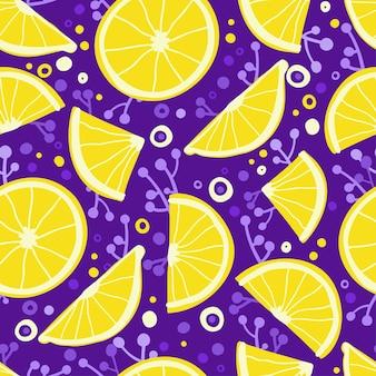 Naadloos patroon met handgetekende citroenen, schijfjes citroen, takjes en cirkels