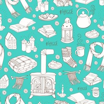 Naadloos patroon met handgetekende doodles hygge. vector illustratie.