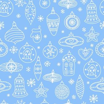 Naadloos patroon met handgetekende speelgoed van de kerstmisbal