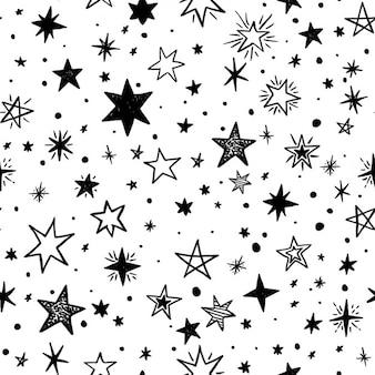 Naadloos patroon met handgetekende sterren