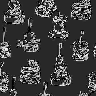 Naadloos patroon met hapjes. schetsstijl herhaalde achtergrond. bruschetta, sandwich, canapeetjes en tapas.
