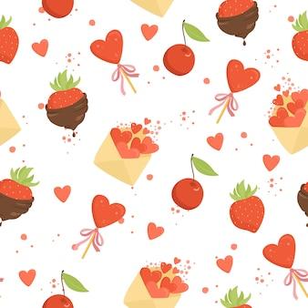 Naadloos patroon met harten en romantiek