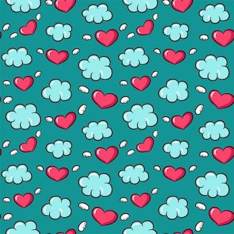 Naadloos patroon met harten en vleugels
