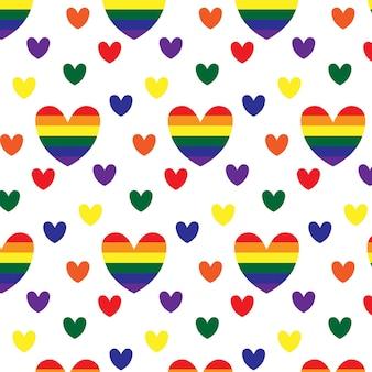 Naadloos patroon met hartjes in lgbt-kleuren lgbt-patroon