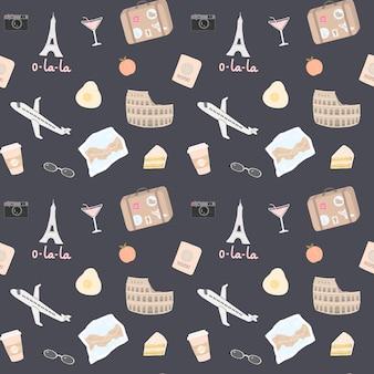 Naadloos patroon met heel wat reiselementen zoals de toren van eiffel