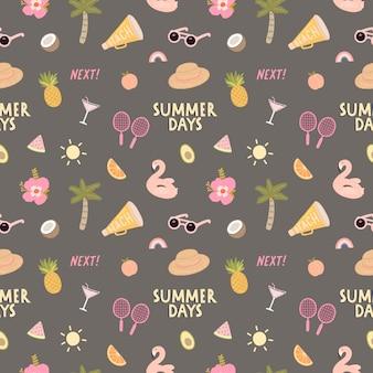 Naadloos patroon met heel wat strand en de zomerelementen