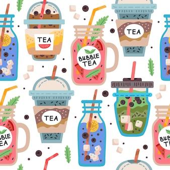 Naadloos patroon met heerlijke veganistische drankjes, smakelijke sappen of smoothies gemaakt van bessen