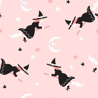 Naadloos patroon met heksen die op bezems vliegen. halloween-ontwerp voor stof en papier, oppervlaktestructuren.