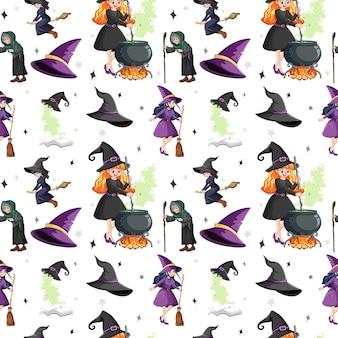 Naadloos patroon met heksen en elementen