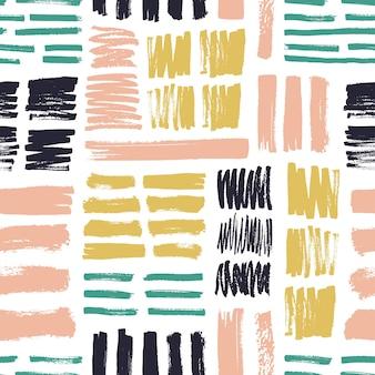 Naadloos patroon met helder gekleurde penseelstreken op witte achtergrond.