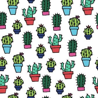 Naadloos patroon met heldere schattige doodle cactussen