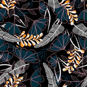 Naadloos patroon met heldere tropische bladeren en bloemen