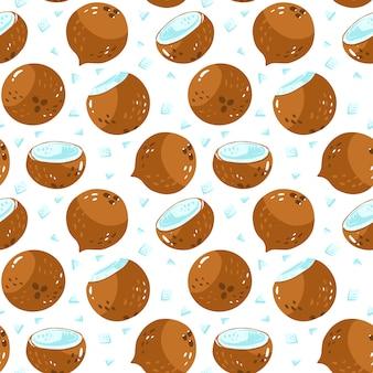 Naadloos patroon met hele kokosnoot en de helft met gepelde kokosnoten. voedsel illustratie. biologisch product.