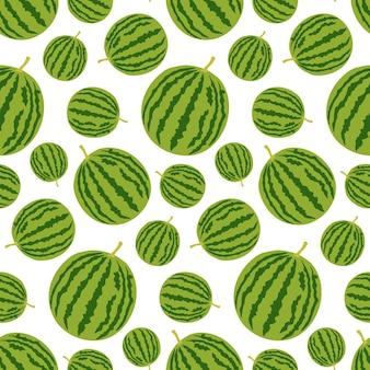 Naadloos patroon met hele watermeloen Premium Vector