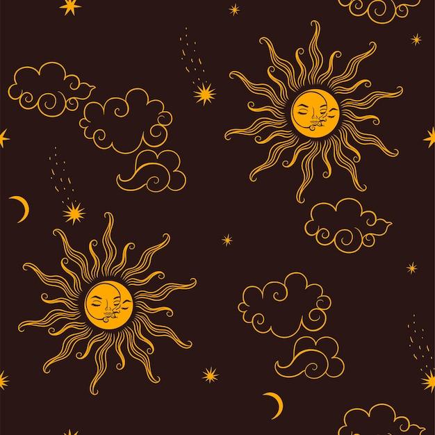 Naadloos patroon met hemellichamen